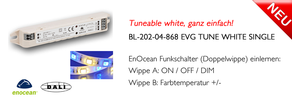 BL-202-04-868 EVG TUNE WHITE SINGLE EnOcean DALI COntroller Tuneable White DEUTA Controls