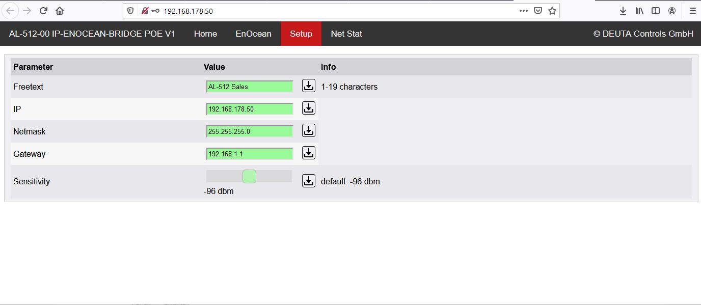 AL-512-00-868 IP-ENOCEAN-BRIDGE PoE V1 EnOcean Monitor DEUTA Controls
