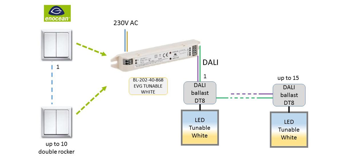 BL-202-40-868 EVG TUNABLE WHITE EnOcean-DALI-Controller DEUTA Controls