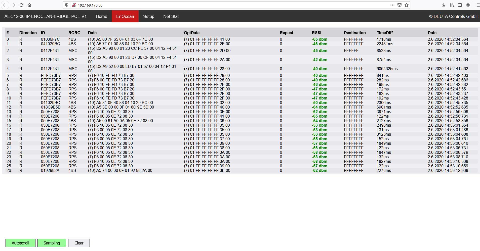 Webserver EnOcean Monitor AL-512-00 IP-ENOCEAN-BRIDGE 12184 DEUTA Controls